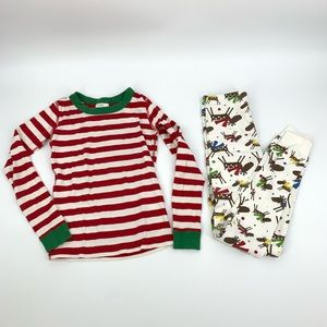 Hanna Andersson Reindeer Striped Christmas Pajamas